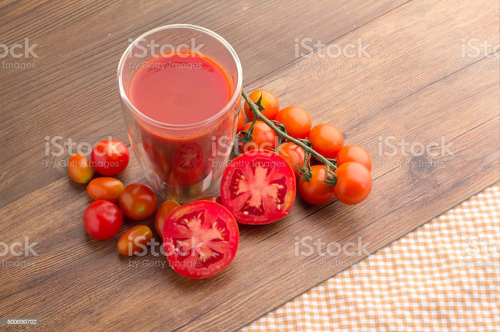 health drink with tomato juice view from top stock photo