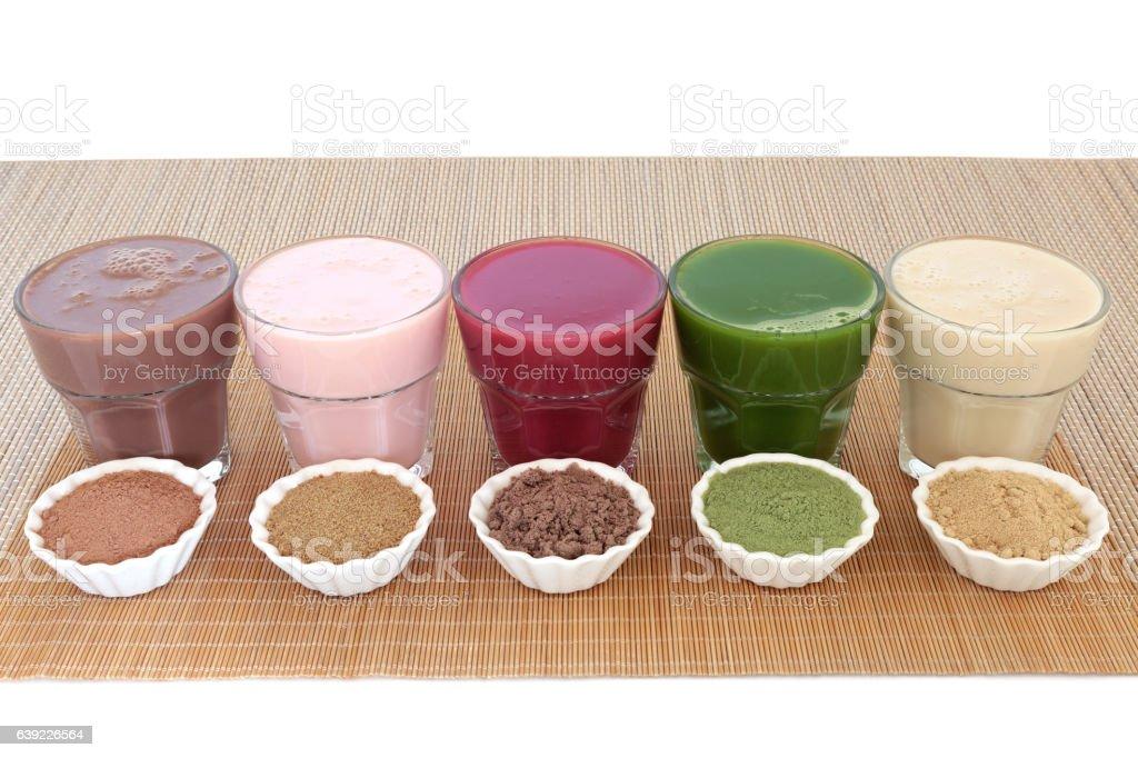 Health food drinks with corresponding powders of chocolate whey,...