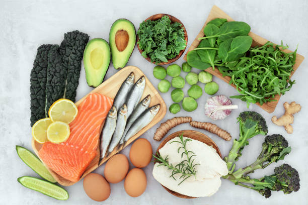 Health Food for Asthma and Respiratory Disease Healthy food for asthma & respiratory diseases including COPD with health foods high in protein, omega 3, antioxidants, vitamins & minerals. Immune boosting. Flat lay. anti inflammatory stock pictures, royalty-free photos & images