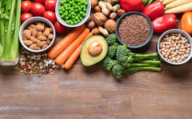 aliments santé pour la cuisine végétalienne. - fibre photos et images de collection