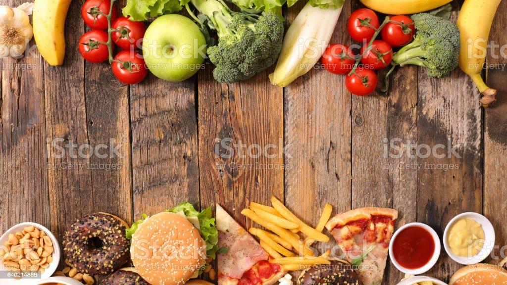 health food or junk food stock photo