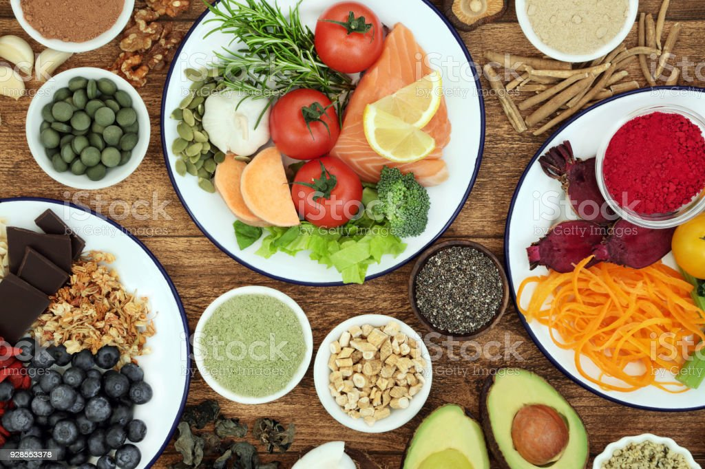 Health Food to Boost Brain Cognitive Functions stock photo