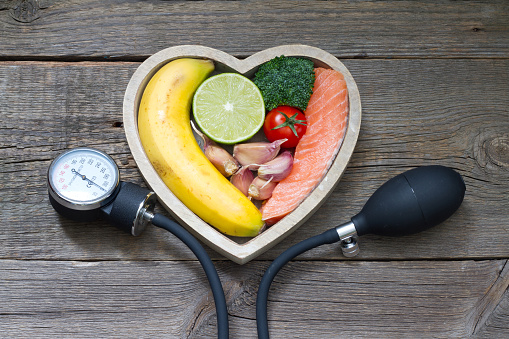 Health Heart Diet Food Concept With Blood Pressure Gauge Stock Photo - Download Image Now