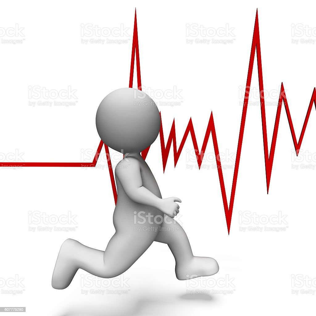 Health Heartbeat Shows Beating Well And Jog 3d Rendering stock photo