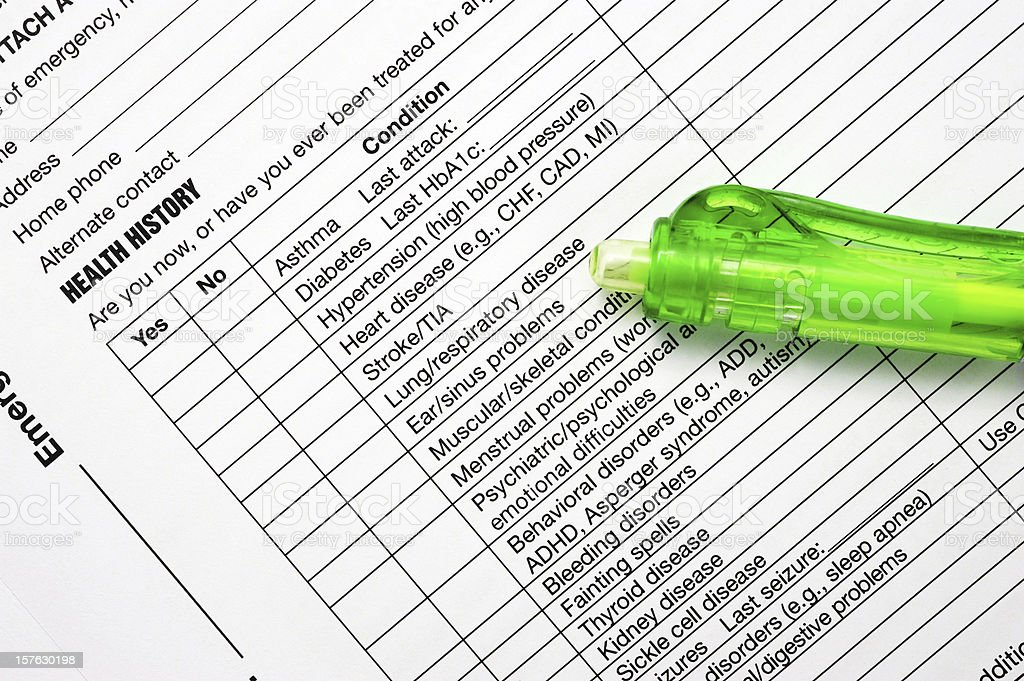 Health History Claim Form-Healthcare And Medicine Document royalty-free stock photo