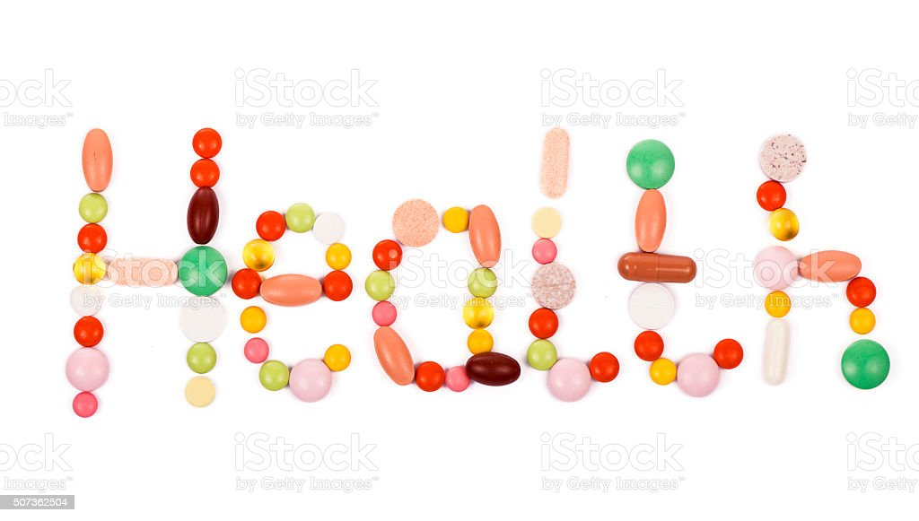 health inscription made from pills stock photo