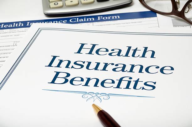 Health Insurance Benefits book close-up stock photo