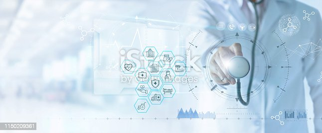istock Health Insurance concept. Medicine doctor and stethoscope in hand touching health insurance related icon on virtual screen interface. Modern Health insurance and medical technology network. 1150209361