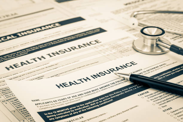 Health insurance questionnaire and registration concept. stock photo