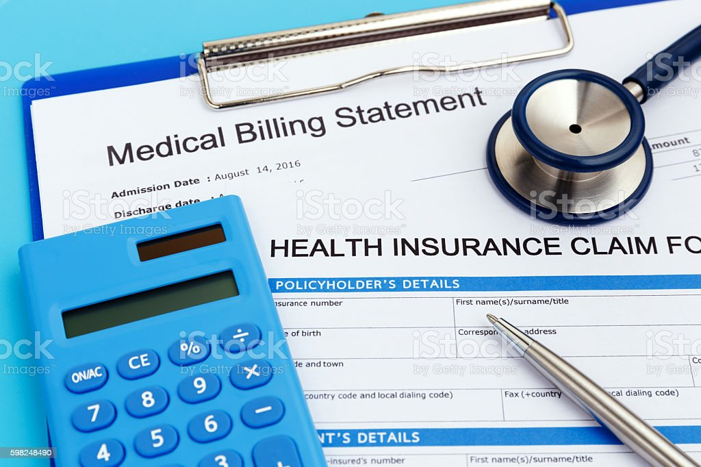 Health insurance with calculator stock photo