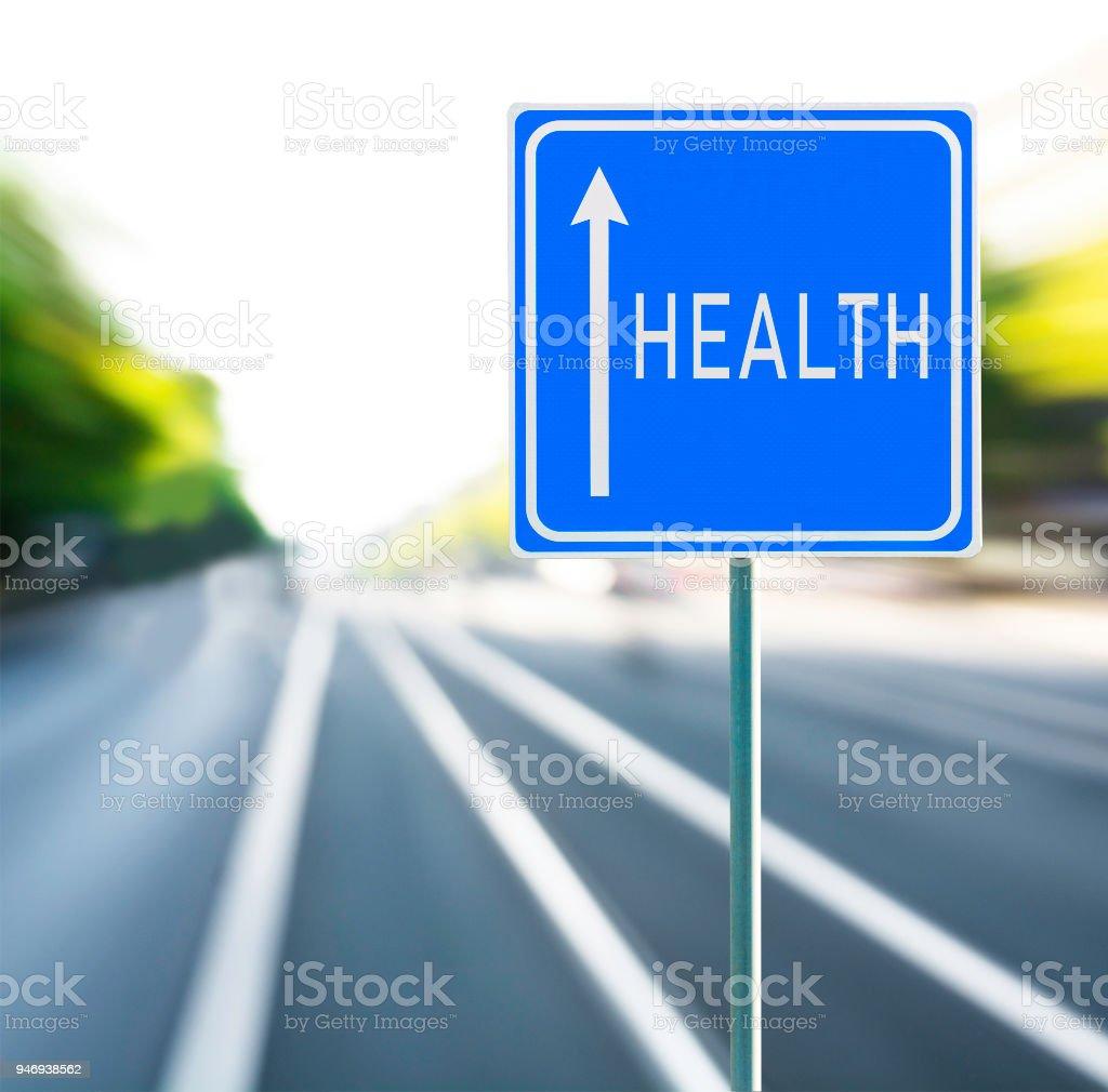 Frase Motivacional De La Salud En Azul Señal Con Flecha Y