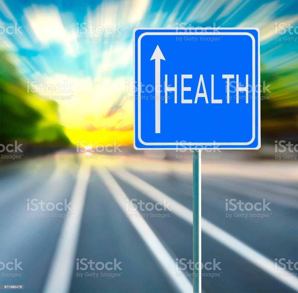 Foto De Frase Motivacional De Saúde Em Sinal De Estrada Azul
