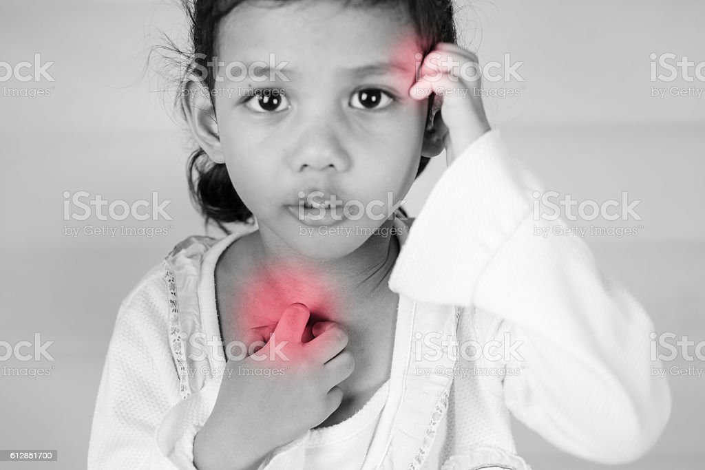 Health problem. girl scratch the itch with hand ,neck, itching stock photo