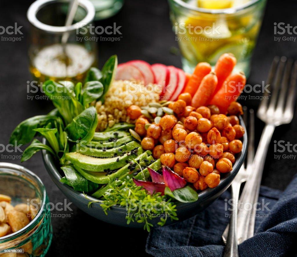 Health salad, Buddha bowl of mixed vegetables stock photo