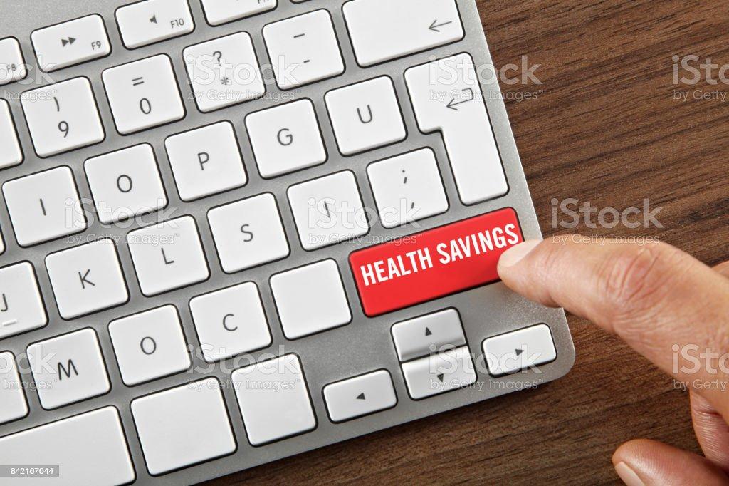 Health savings button stock photo