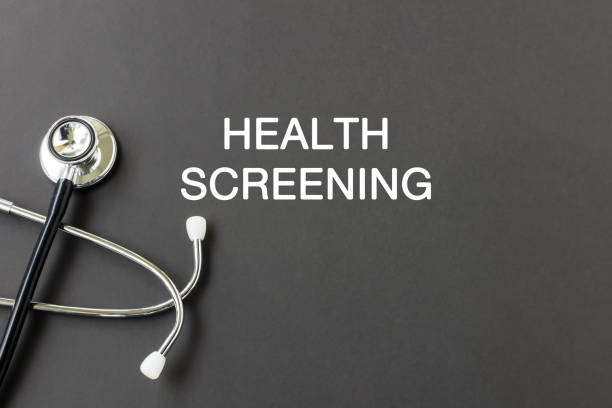 Health screening text with stethoscope Health screening text with stethoscope, health and medical concept. film and television screening stock pictures, royalty-free photos & images