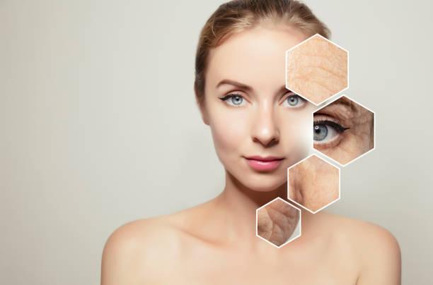 건강 보조 식품 여성 얼굴 안티 에이징 미용 화장품 - 주름 뉴스 사진 이미지