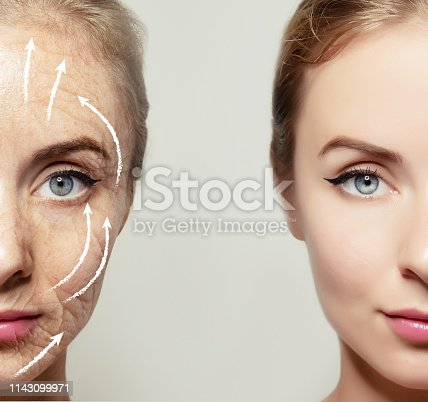 istock Health supplement female face anti-aging beauty cosmetics 1143099971