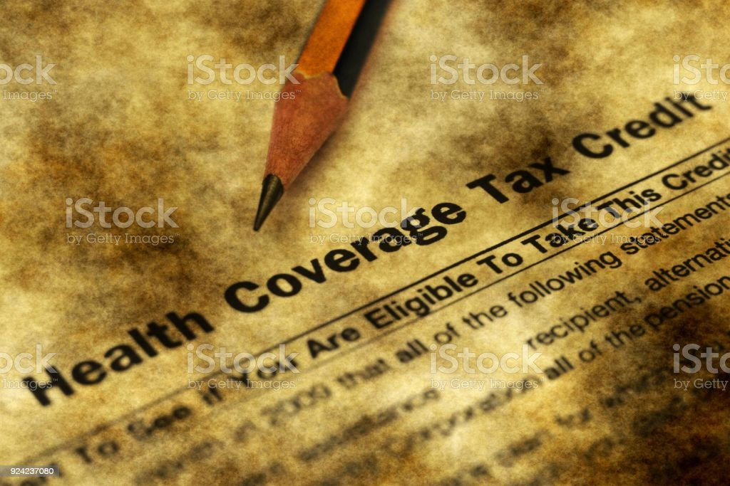 Health tax credit form grunge concept stock photo