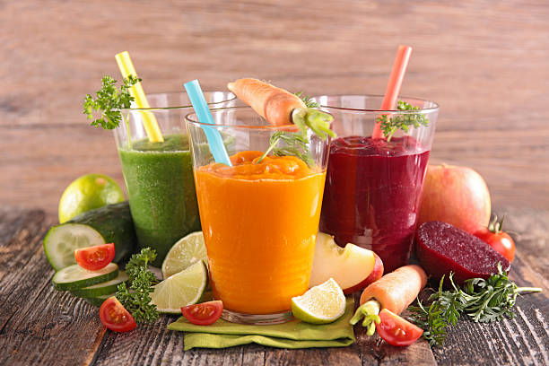 health vegetable juices stock photo