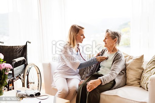istock Health visitor and a senior woman during home visit. 876676070