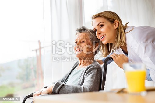 istock Health visitor and a senior woman during home visit. 879005182