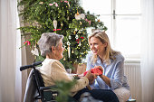 istock Health visitor and senior woman in wheelchair with a present at home at Christmas. 1066098638