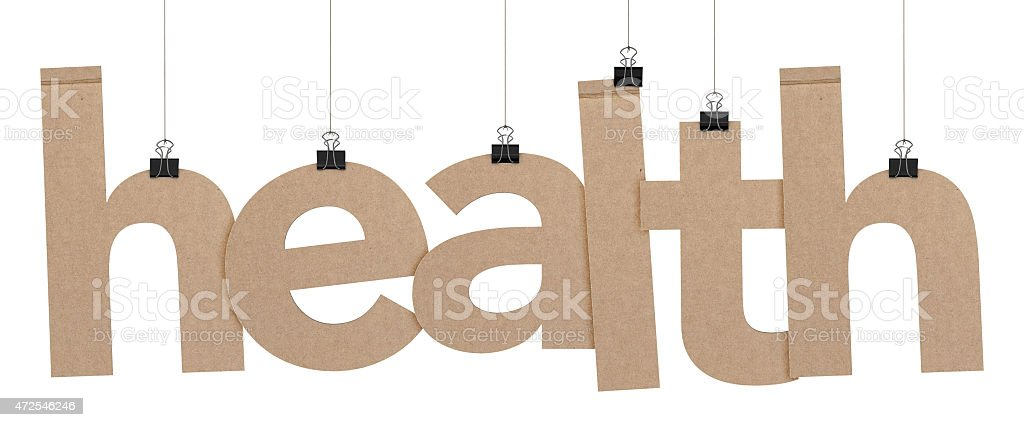 health word hanging on strings stock photo
