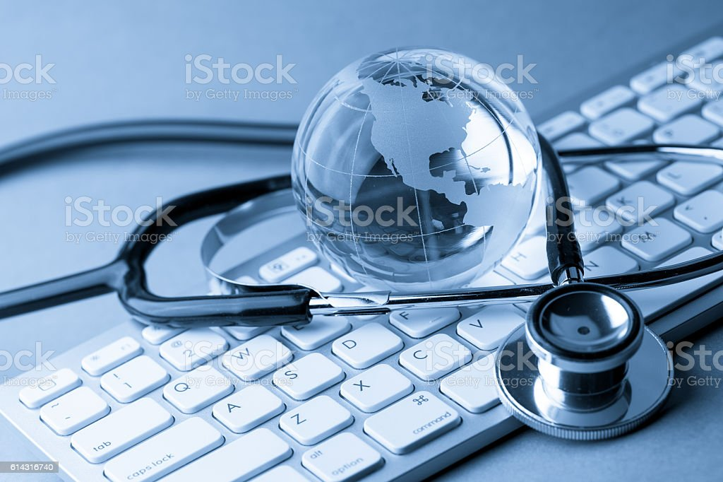 healthcare and medical concept, close up of stethoscope stock photo