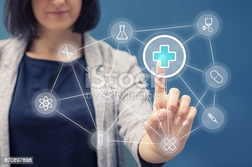 istock Healthcare application on touch screen. 870897898