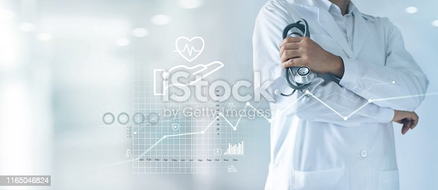 688358418 istock photo Healthcare business graph and Medical examination, Health Insurance, Doctor with stethoscope in hand and data growth chart ,Medical and medicine business on hospital background. 1165046824