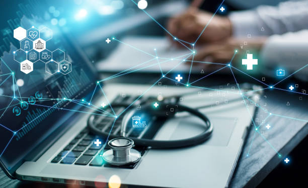 Healthcare business graph data and growth, Insurance Healthcare. Doctor analyzing medical of business report and medical examination with network connection on laptop screen. stock photo
