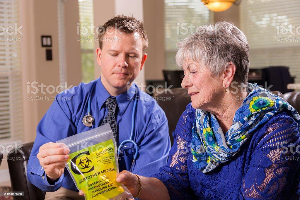 Healthcare: Concierge doctor explains chemotherapy medicine. Senior woman. stock photo
