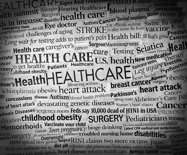 healthcare headlines stock photo