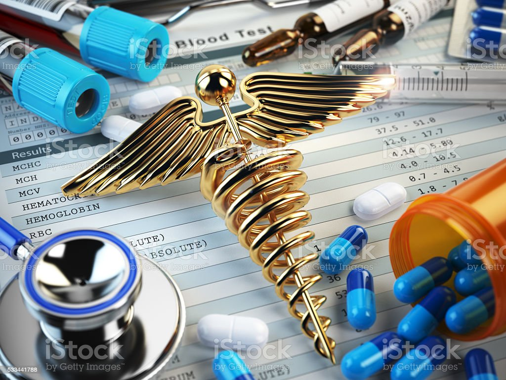 Healthcare medical concept. Pills, capsules, stethoscope, syring stock photo