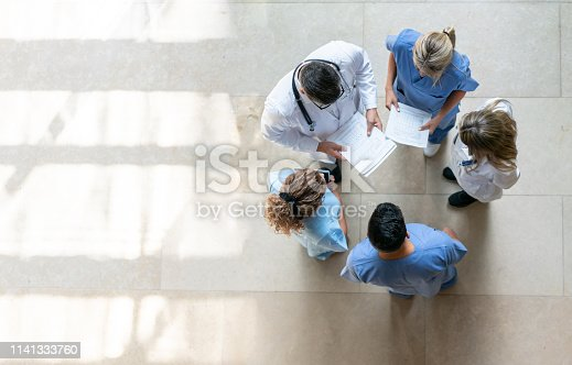 Healthcare professionals during a meeting at the hospital - High angle view