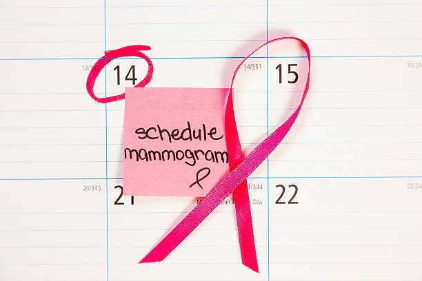 gesundheitswesen: erinnerung hinweis zum zeitplan mammografie zu unterziehen. - mammografie stock-fotos und bilder