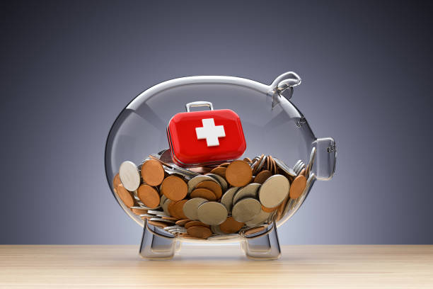 Healthcare Savings Piggy Bank, Care, Insurance, First aid kit expense stock pictures, royalty-free photos & images