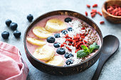 Healthy Acai Bowl Topped With Fruits, Berries, Seeds. Closeup View. Weight Loss, Healthy Eating, Vegan Food Concept