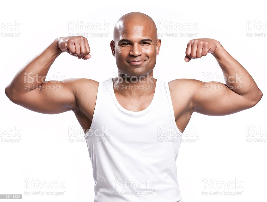 Healthy African American Man Flexing Muscles royalty-free stock photo