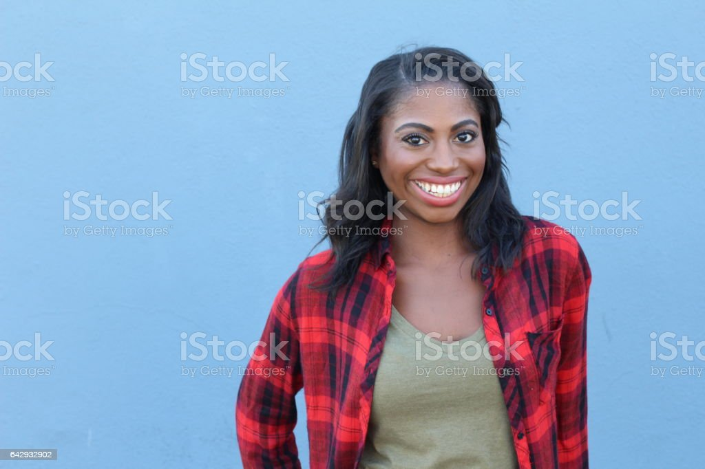 Healthy African woman showing happiness with copyspace stock photo
