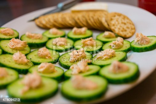 Sliced cucumber with spiced pate, camembert cheese with water crackers on a serving dish. Narrow depth of field.