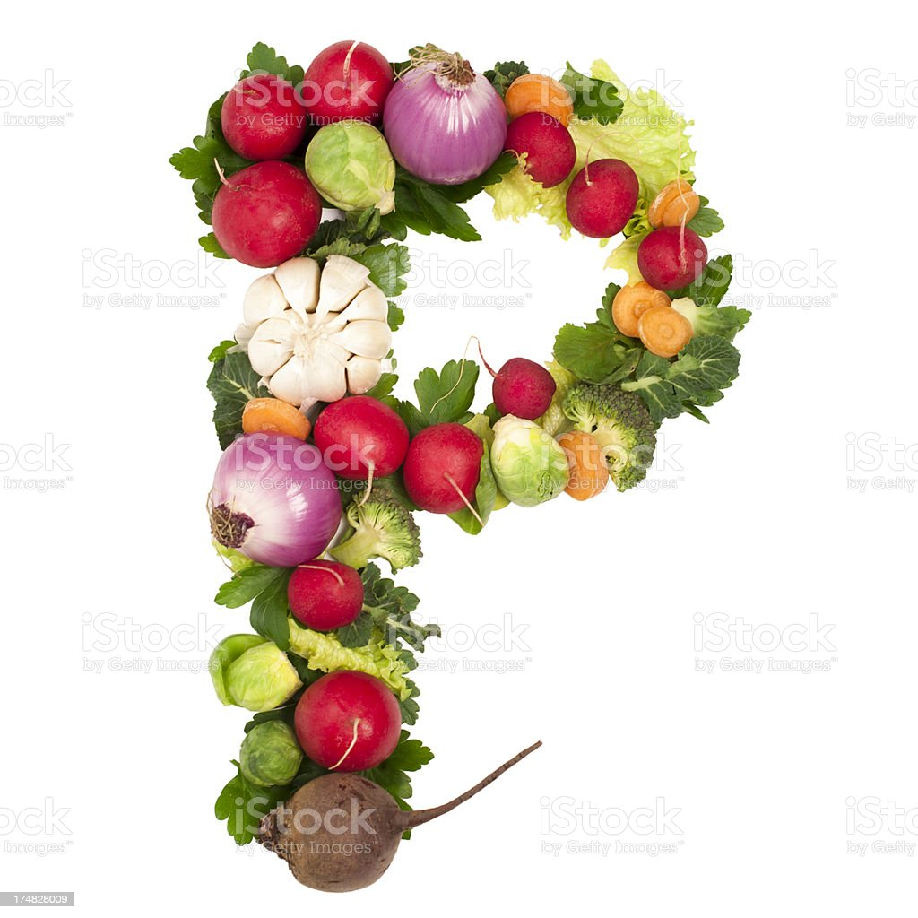 Healthy alphabet Letter P royalty-free stock photo