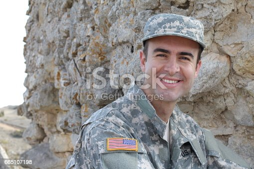 istock Healthy American soldier smiling outdoors 665107198