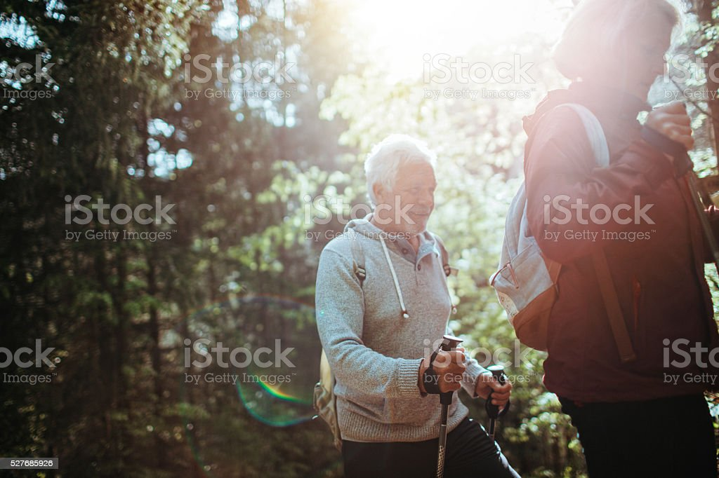 Healthy and active in senior years stock photo