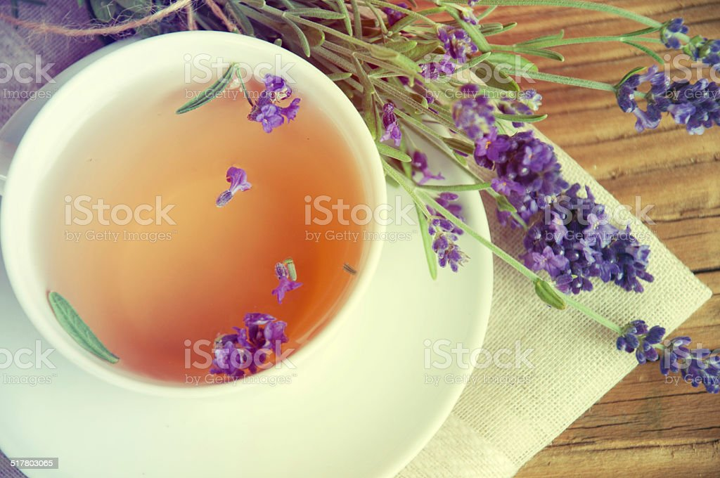 Healthy and delicious lavender tea stock photo