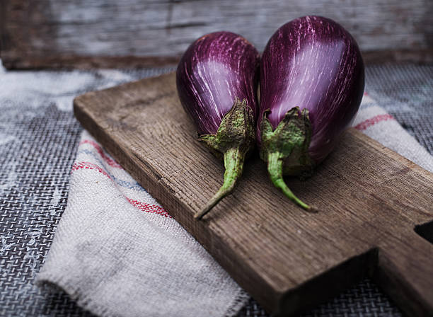 Healthy and delicious purple eggplants stock photo