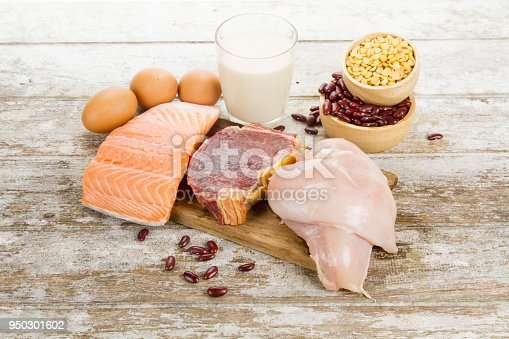istock Healthy and Diet food with raw clean food of fish, chicken and beef the nutritional concept 950301602