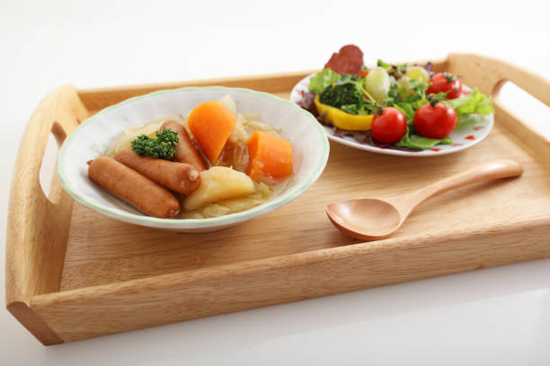 Healthy and tasty breakfast Delicious cuisines on a wooden tray pot au feu stock pictures, royalty-free photos & images