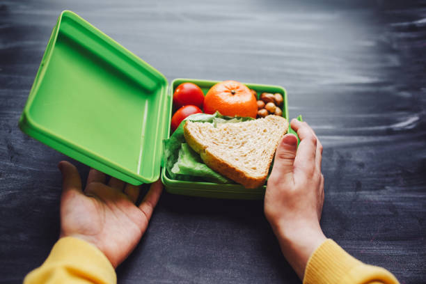hälsosam och välsmakande lunchlåda för barn, närbild - lunchlåda bildbanksfoton och bilder